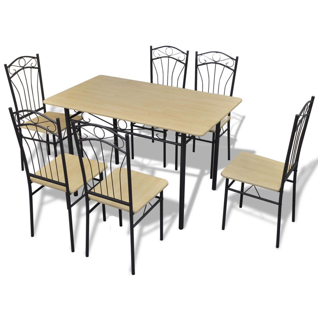 vidaxl c set 1 table et 6 chaises marron clair. Black Bedroom Furniture Sets. Home Design Ideas