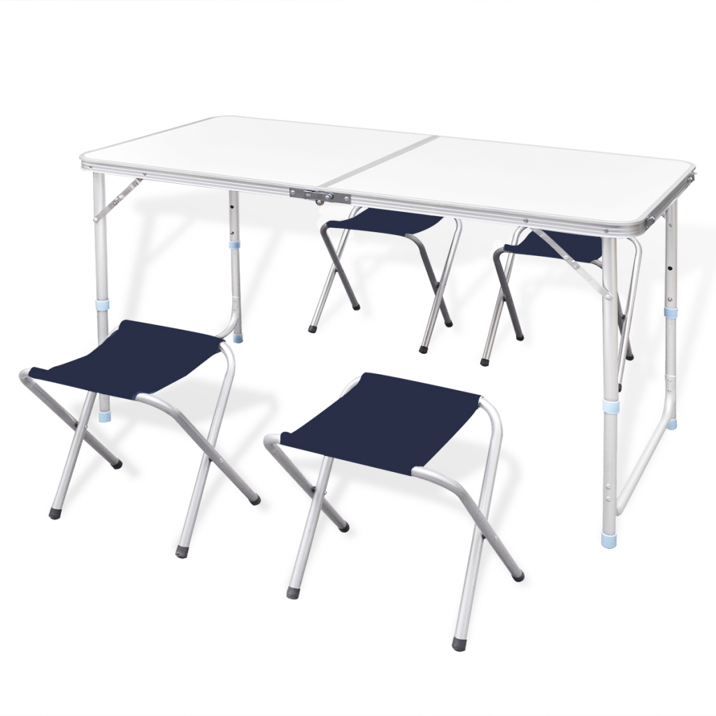 vidaxl table pliante de camping hauteur ajustable avec 4. Black Bedroom Furniture Sets. Home Design Ideas