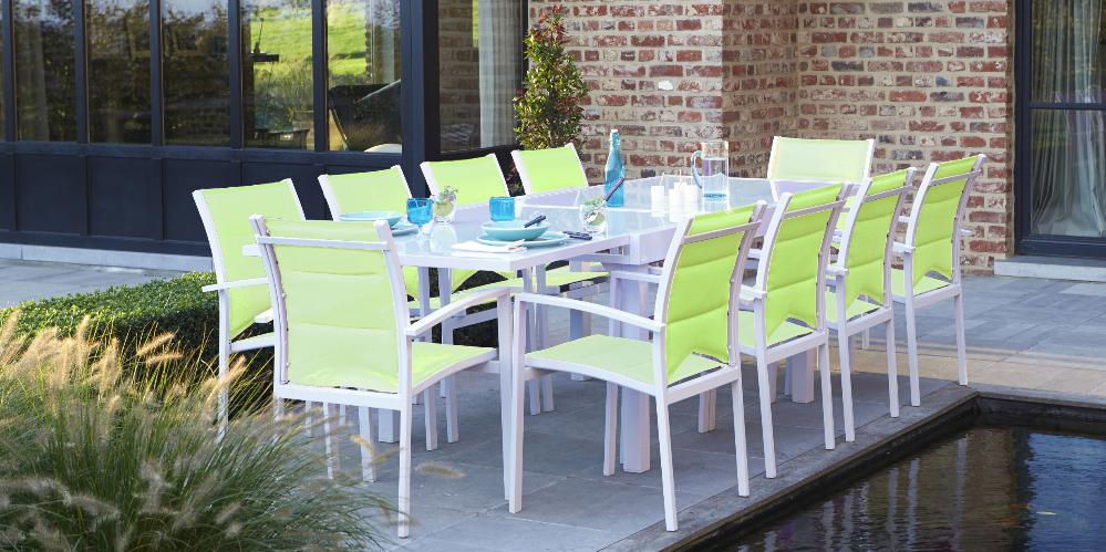 Wilsa C Garden - Salon de jardin Modulo 1 table + 10 fau