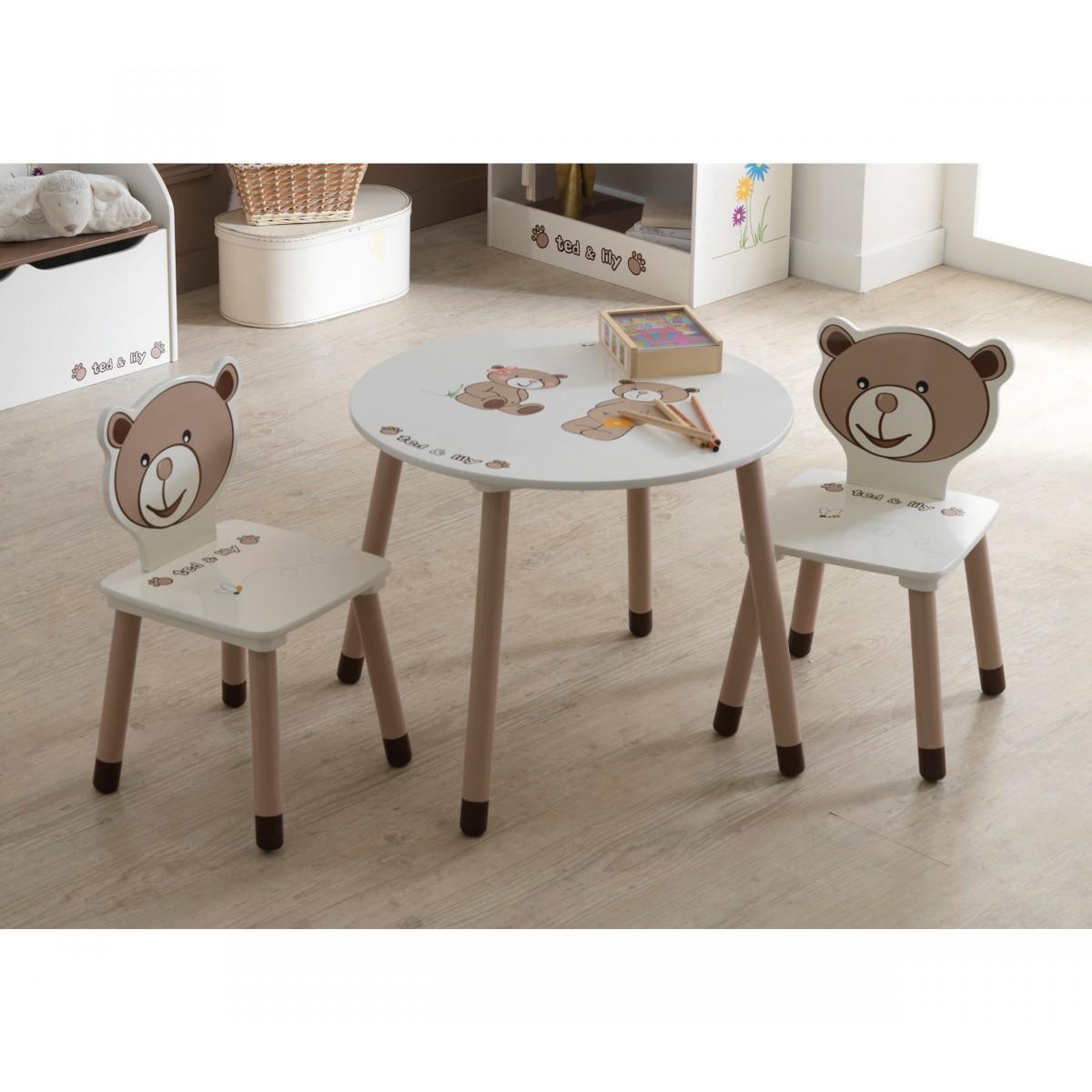 someo ctable enfant 2 chaises ted et lily. Black Bedroom Furniture Sets. Home Design Ideas