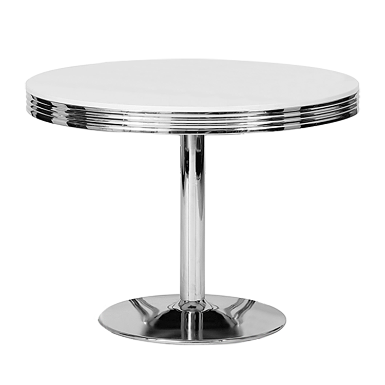 Conforama table de jardin 90x90 cm boheme coloris blanc for Table de cuisine ronde chez conforama