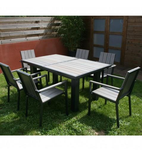 Dcb Salon de jardin - Table rallonge papillon + 4 fauteuils ...