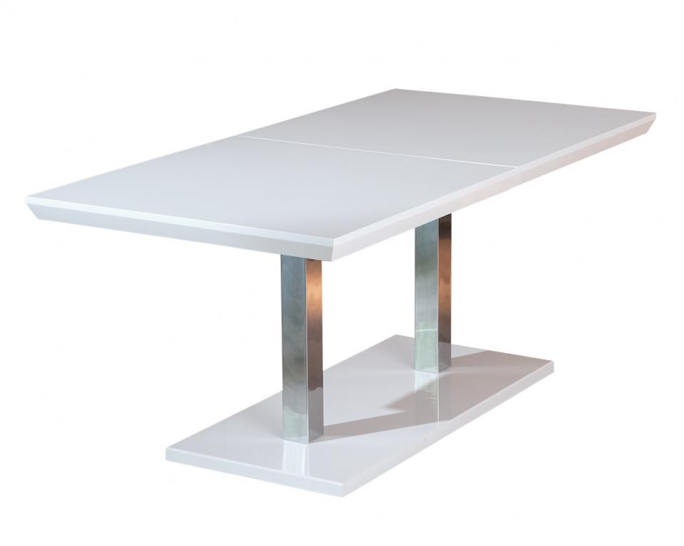 Table a manger blanche avec rallonge for Table carree blanc laque avec rallonge