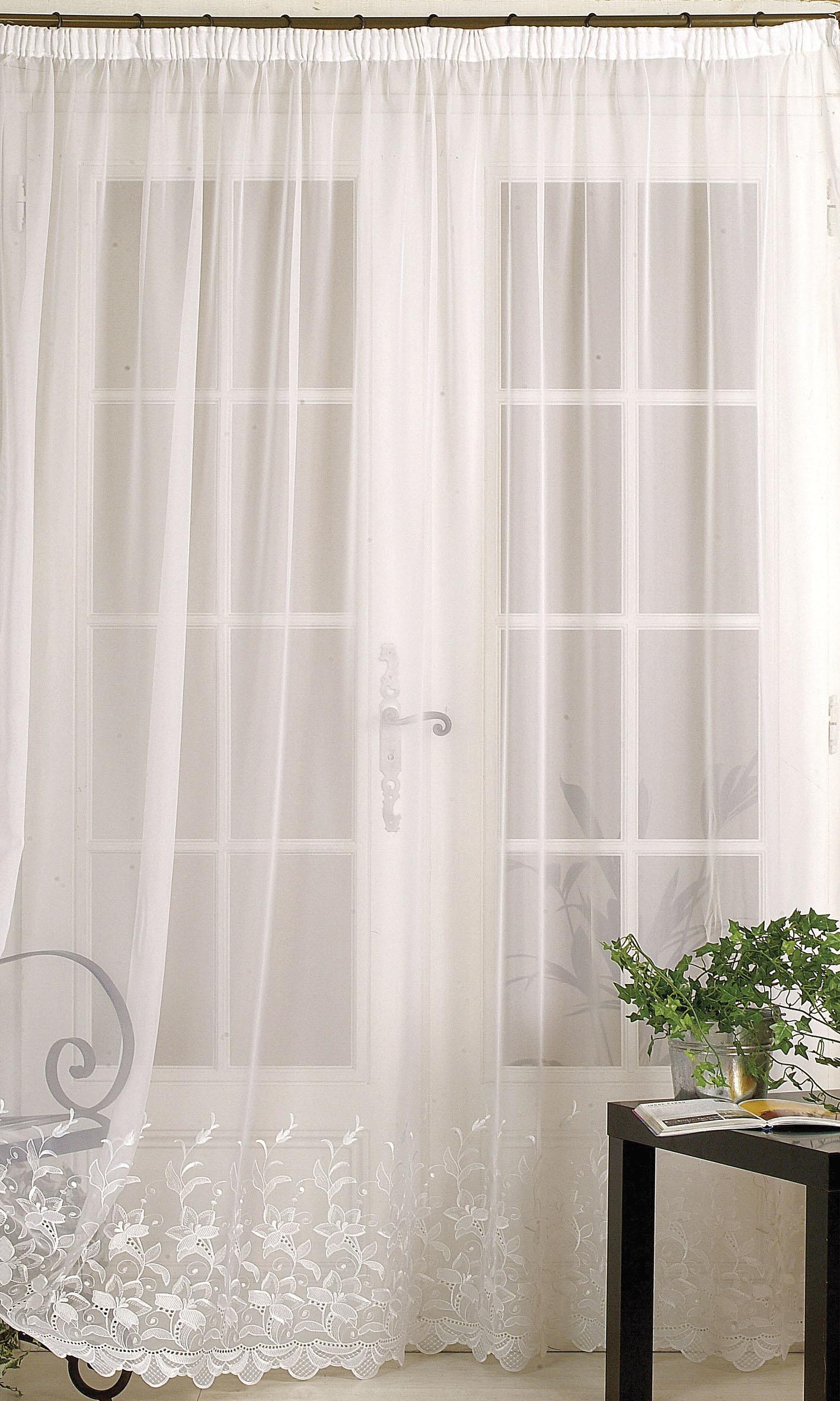homemaison rideau classique en voile uni ourlet croquet blanc. Black Bedroom Furniture Sets. Home Design Ideas