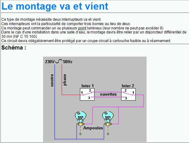 Archives forum de discussion du 18 03 2005 for Monter un va et vient en interrupteur simple